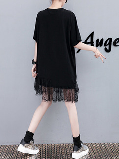Black White and Colorful Shift Above Knee Plus Size Lace T-Shirt Dress for Casual Party
