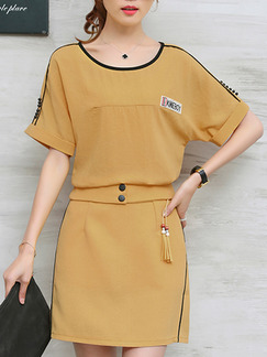 Beige Two Piece Above Knee Plus Size Dress for Casual Office Evening
