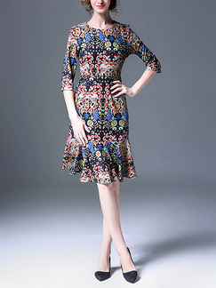 Colorful Sheath Knee Length Plus Size Dress for Casual Office Evening