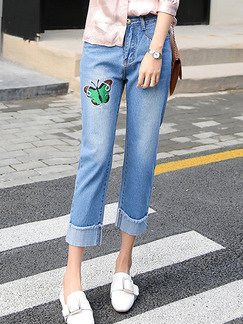 Blue Three Quarter Denim Plus Size Pants for Casual