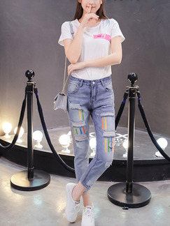Blue Colorful Long Denim Pants for Casual