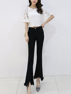 Black Long Plus Size Denim Pants for Casual