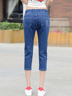 Blue Three Quarter Plus Size Denim Pants for Casual