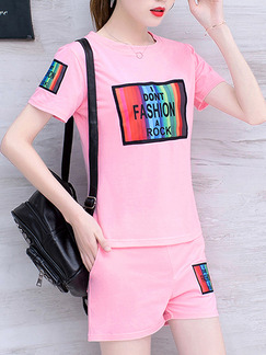 Pink Colorful Two Piece Shirt Shorts Plus Size Cute Jumpsuit for Casual