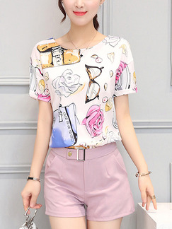 Pink and White Colorful Two Piece Shirt Shorts Plus Size Jumpsuit for Casual Office Evening Party
