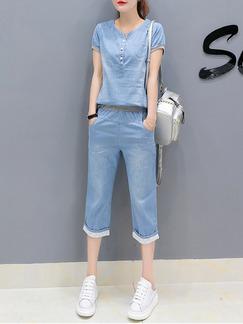 8460b9e1c617 Blue Two Piece Shirt Pants Plus Size Denim Jumpsuit for Casual Office
