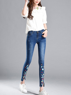 Blue Colorful Long Plus Size Denim Pants for Casual