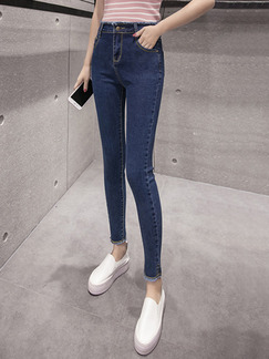 Blue Long Pants Pants for Casual