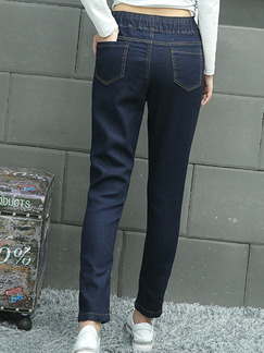 Dark Blue Long Plus Size Denim Pants for Casual