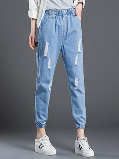 Blue Long Plus Size Denim Pants for Casual