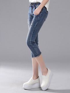 Blue Three Quarter Pants Pants for Casual