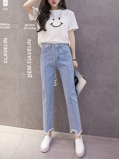 Blue Long Plus Size Denim Pants for Casual Office Evening Party