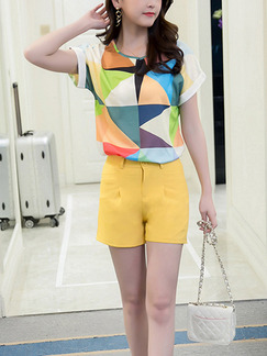 Yellow Colorful Two Piece Shirt Shorts Plus Size Cute Jumpsuit for Casual Office Evening Party