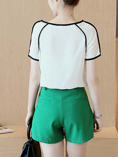 Green and White Two Piece Shirt Shorts Plus Size Jumpsuit for Casual