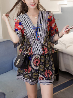 Colorful Two Piece Shirt Shorts Plus Size V Neck Jumpsuit for Casual