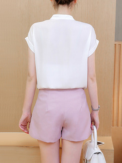White and Pink Two Piece Shirt Shorts Plus Size Jumpsuit for Casual Office Party