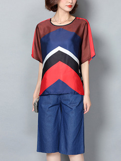 Blue and Red Two Piece Shirt Shorts Plus Size Wide Leg Jumpsuit for Casual Office Party