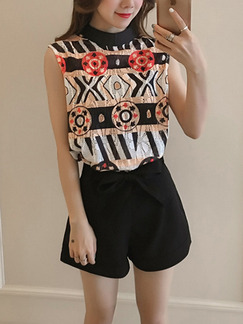 Black and White Colorful Two Piece Shirt Shorts Plus Size Jumpsuit for Casual Office