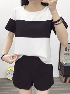 Black and White Two Piece Shirt Shorts Plus Size Jumpsuit for Casual Office Evening Party