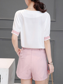 Pink and White Two Piece Shirt Shorts Plus Size V Neck Jumpsuit for Casual Office Evening Party