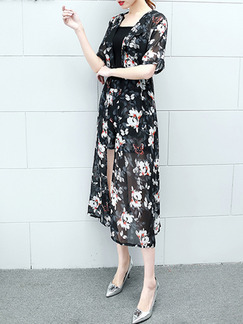 Black and White Three Piece Shirt Shorts Plus Size Floral Jumpsuit for Casual Office Evening Party