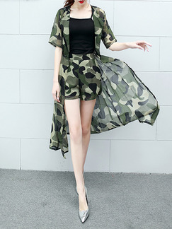 Black and Green Camouflage Three Piece Shirt Shorts Plus Size Jumpsuit for Casual Party