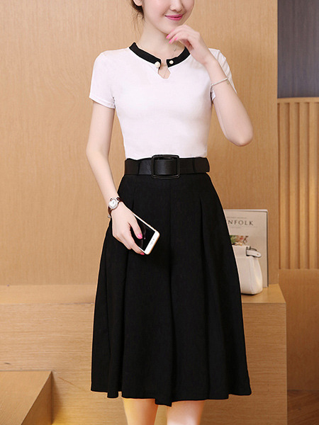 67c29b978a7 Black and White Two Piece Shirt Pants Wide Leg Plus Size Jumpsuit for Casual  Office Evening