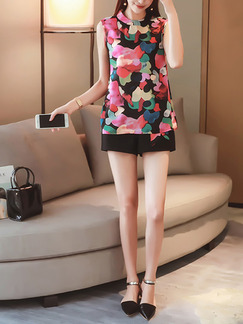 Black Colorful Two Piece Shirt Shorts Plus Size Jumpsuit for Casual Office Evening Party