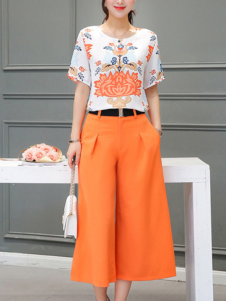 97a716b3c61 Orange and White Two Piece Shirt Pants Wide Leg Plus Size Jumpsuit for Casual  Office Evening