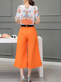 Orange and White Two Piece Shirt Pants Wide Leg Plus Size Jumpsuit for Casual Office Evening Party