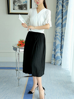 650aa05c2dfd Black and White Two Piece Shirt Pants Wide Leg Plus Size V Neck Jumpsuit  for Casual