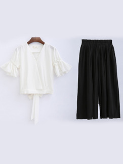 Black and White Two Piece Shirt Pants Wide Leg Plus Size V Neck Jumpsuit for Casual Office Evening Party