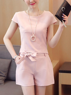 Pink Two Piece Shirt Shorts Plus Size Cute Jumpsuit for Casual Office Evening Party