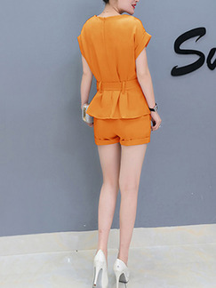 Orange Two Piece Shirt Shorts Plus Size Jumpsuit for Casual Office Evening Party