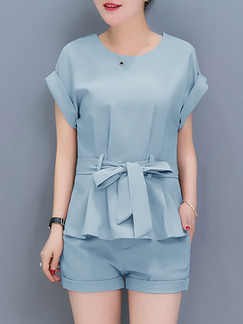 Blue Two Piece Short Shorts Plus Size Jumpsuit for Casual Office Evening Party