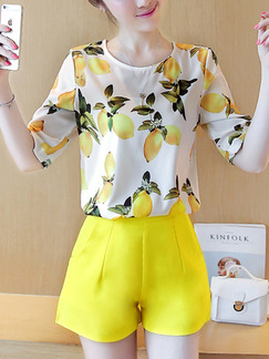 White and Yellow Two Piece Shirt Shorts Plus Size Cute Jumpsuit for Casual Office Evening Party