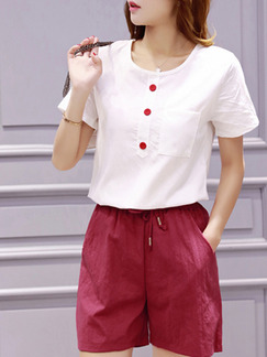 White and Red Two Piece Shirt Shorts Plus Size Jumpsuit for Casual
