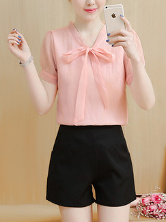 Pink and Black Two Piece Shirt Shorts Plus Size V Neck Cute Jumpsuit for Casual Office Evening Party