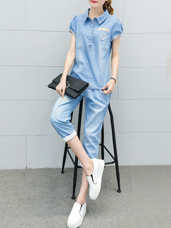 Blue Two Piece Shirt Pants Plus Size Jumpsuit for Casual Office