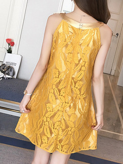 Golden Shift Above Knee Plus Size Dress for Office Evening Party