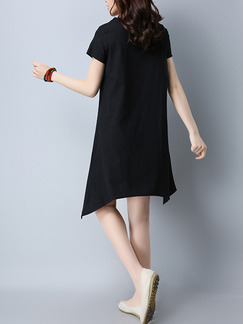 Black and Pink Shift Knee Length Plus Size Dress for Casual Office Evening