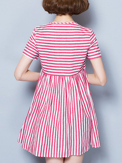 Red and White Stripes Shift Above Knee Plus Size Dress for Casual Office Evening Party