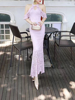 Pink Bodycon Maxi Lace Dress for Cocktail Ball