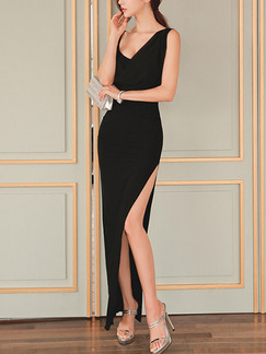 Black Bodycon Maxi Slip V Neck Dress for Cocktail Ball