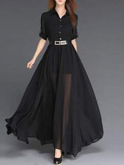 Black Maxi Fit & Flare Plus Size V Neck Dress for Cocktail Ball