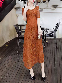 Apricot Midi Lace V Neck Dress for Cocktail Ball