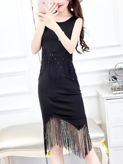 Black Bodycon Knee Length Dress for Casual Party Evening