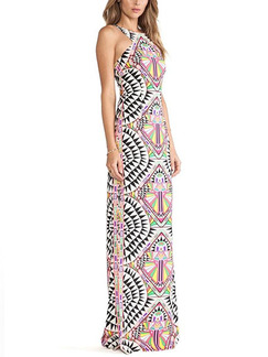 Colorful Bodycon Maxi Halter Plus Size Dress for Cocktail Ball