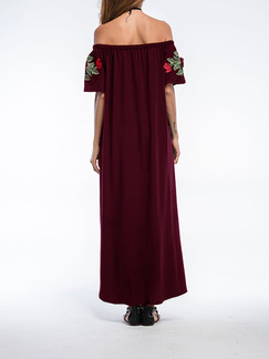Red Off Shoulder Maxi Plus Size Floral Dress for Cocktail