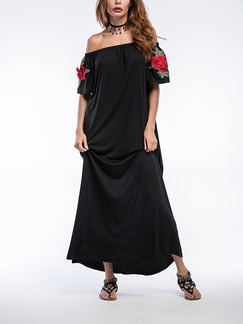 Black Off Shoulder Maxi Plus Size Floral Dress for Cocktail